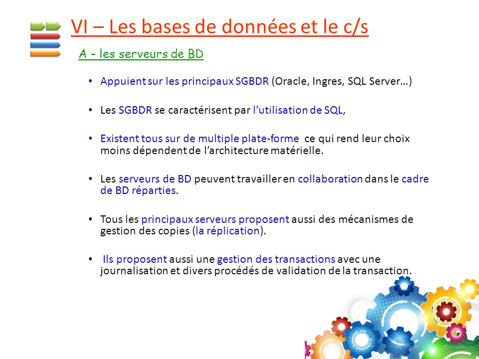 VI – Les bases de données et le c/s