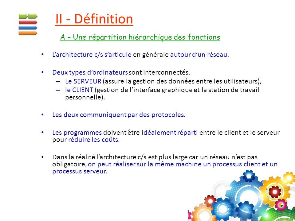 II - Définition A – Une répartition hiérarchique des fonctions