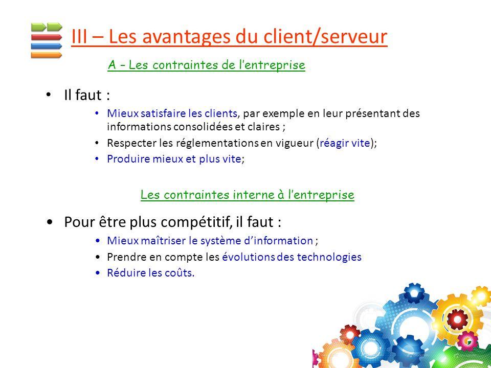 III – Les avantages du client/serveur