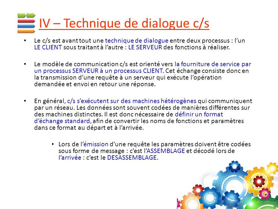 IV – Technique de dialogue c/s