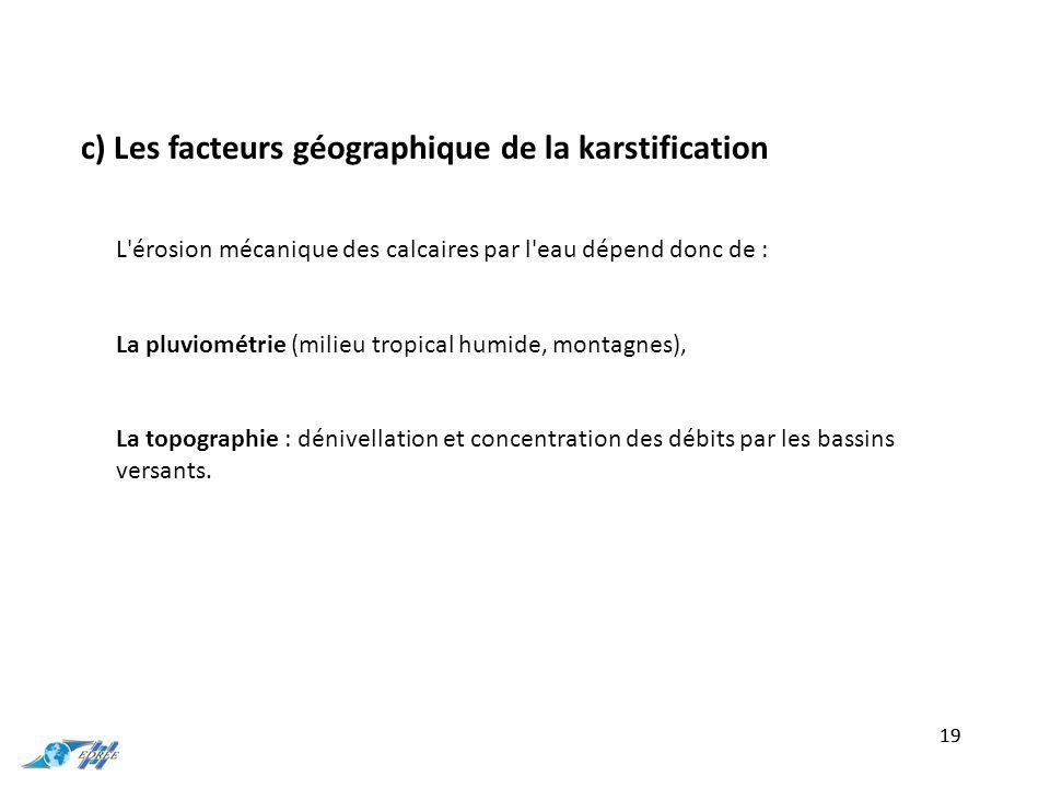 c) Les facteurs géographique de la karstification