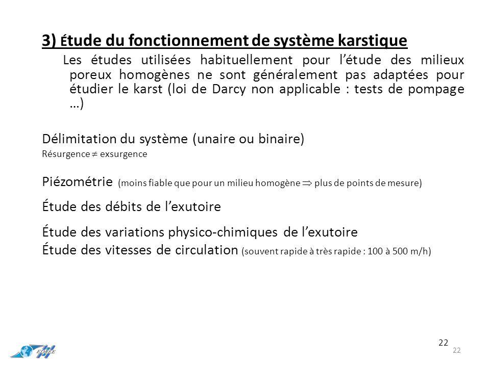 3) Étude du fonctionnement de système karstique