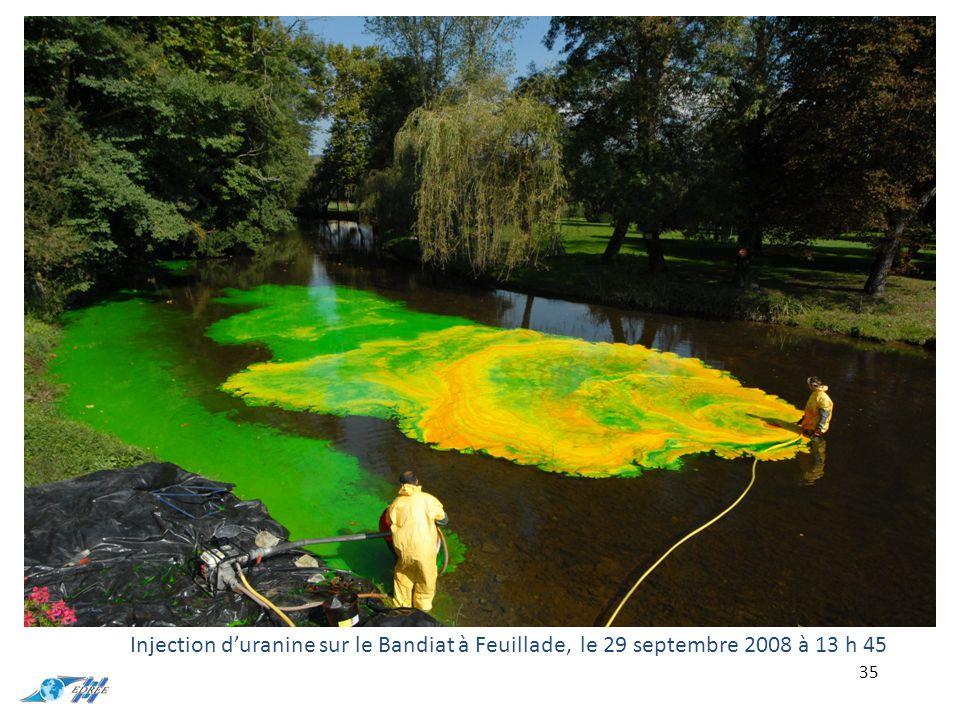 Injection d'uranine sur le Bandiat à Feuillade, le 29 septembre 2008 à 13 h 45