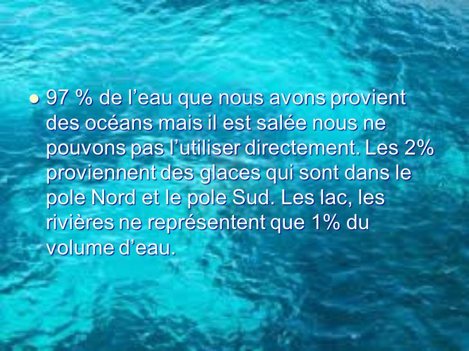 97 % de l'eau que nous avons provient des océans mais il est salée nous ne pouvons pas l'utiliser directement.