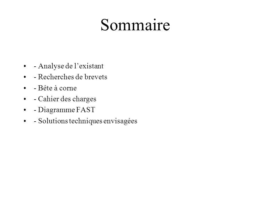 Sommaire - Analyse de l'existant - Recherches de brevets