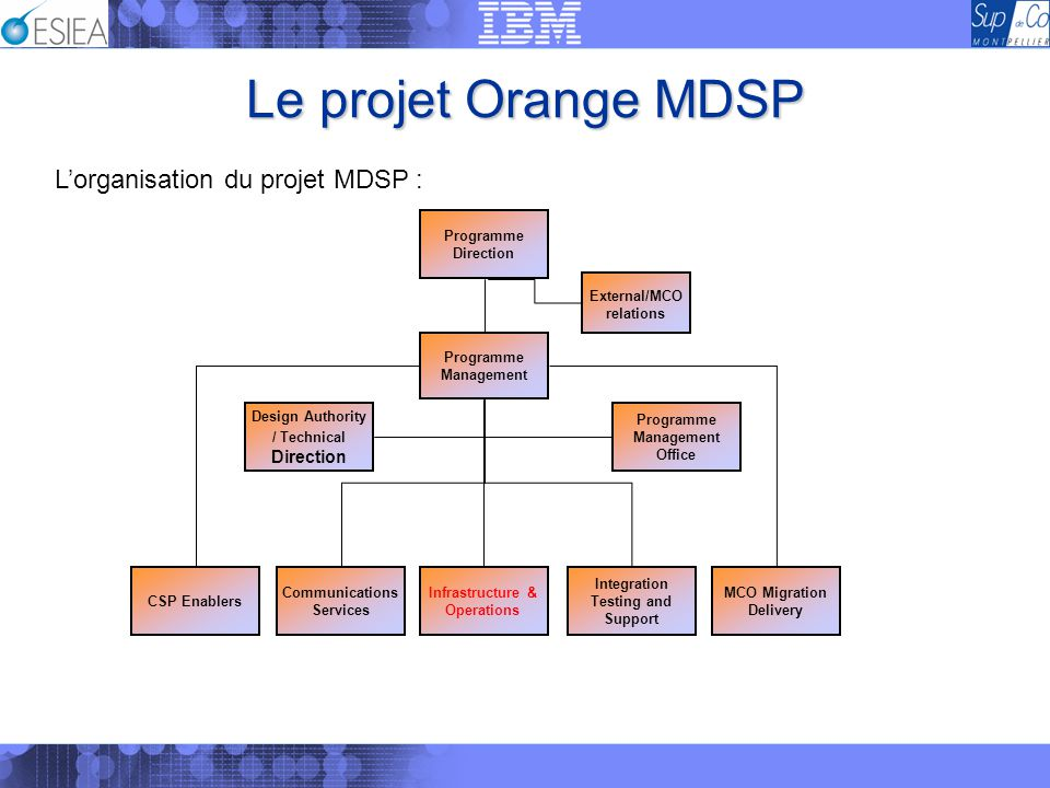 Le projet Orange MDSP L'organisation du projet MDSP :