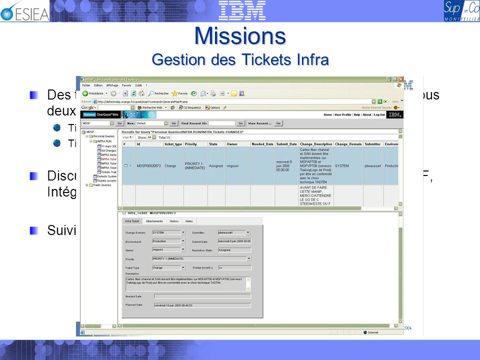 Missions Gestion des Tickets Infra