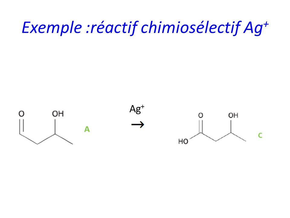 Exemple :réactif chimiosélectif Ag+