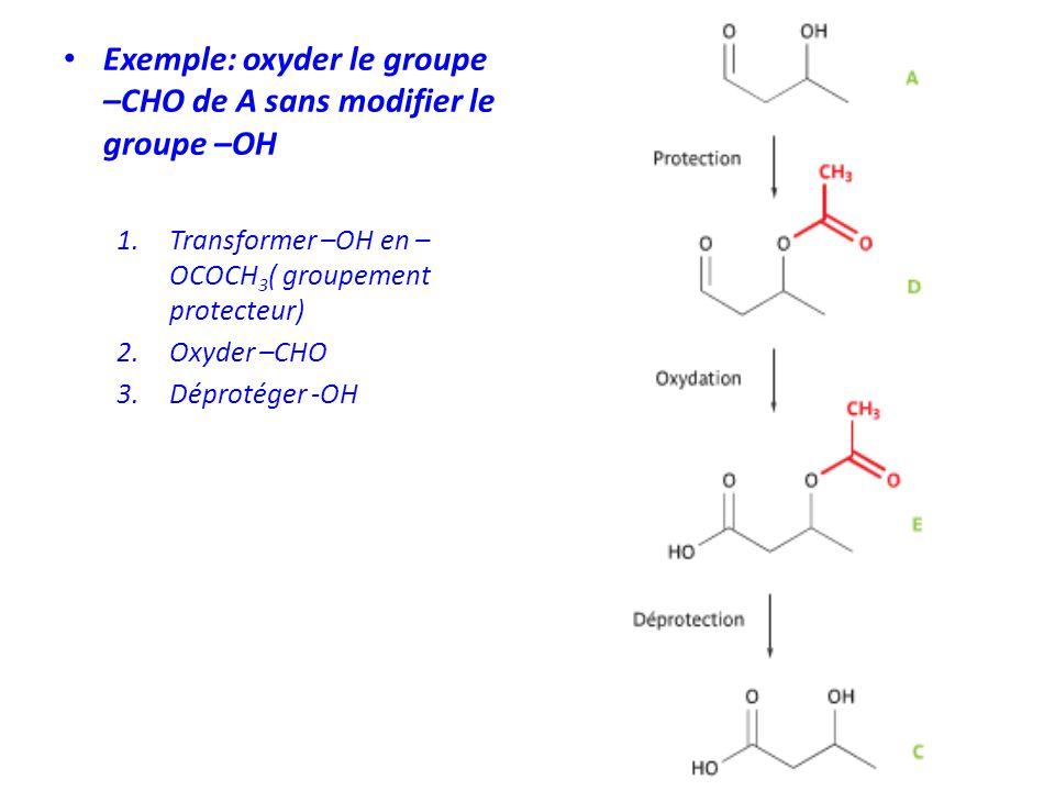 Exemple: oxyder le groupe –CHO de A sans modifier le groupe –OH
