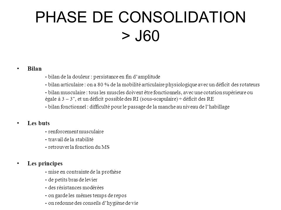 PHASE DE CONSOLIDATION > J60