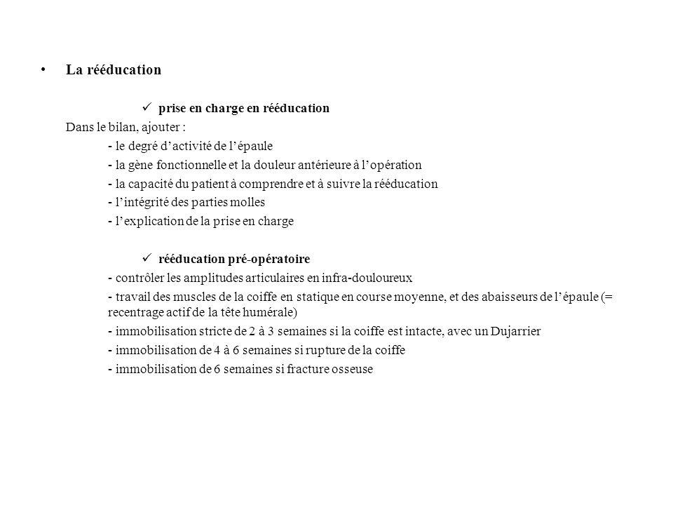 La rééducation prise en charge en rééducation Dans le bilan, ajouter :