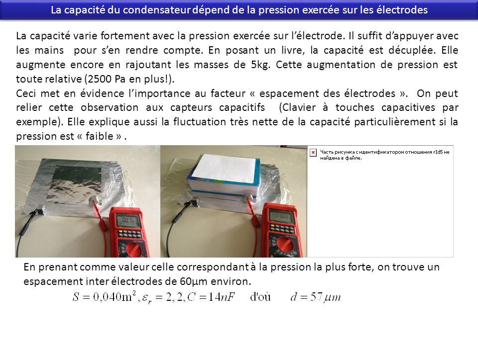 La capacité du condensateur dépend de la pression exercée sur les électrodes