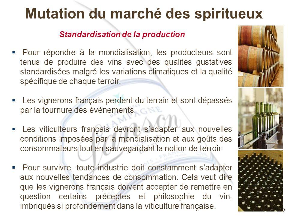 Mutation du marché des spiritueux Standardisation de la production