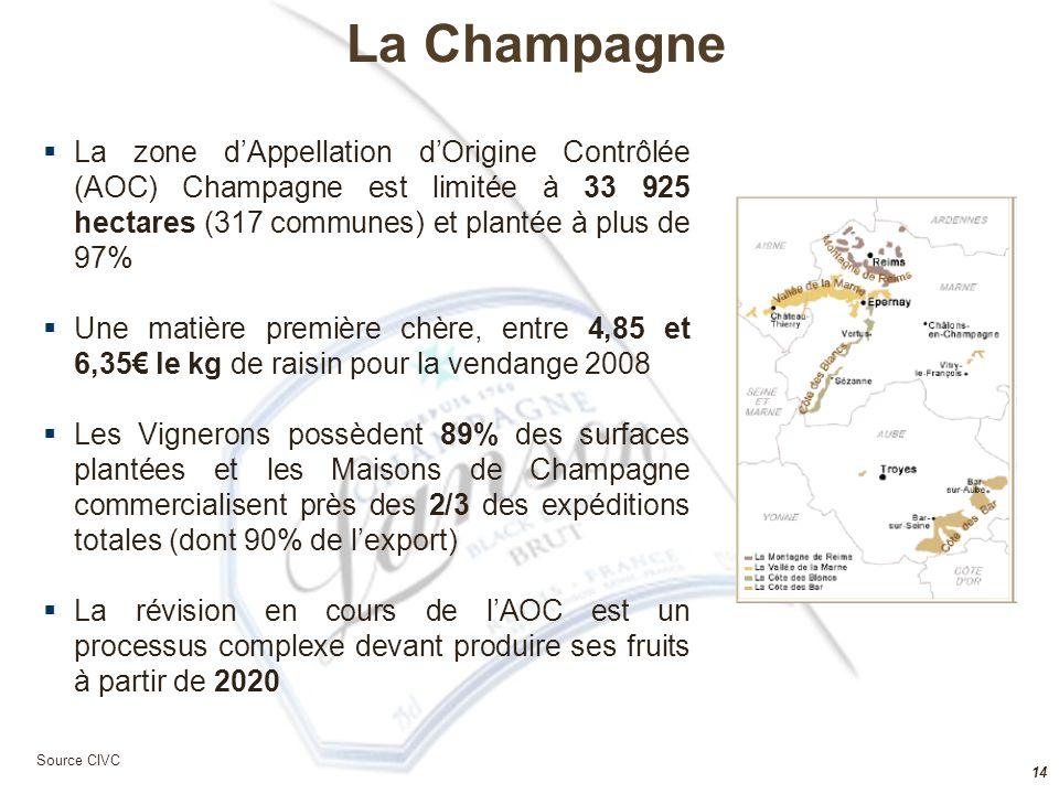 La Champagne La zone d'Appellation d'Origine Contrôlée (AOC) Champagne est limitée à 33 925 hectares (317 communes) et plantée à plus de 97%