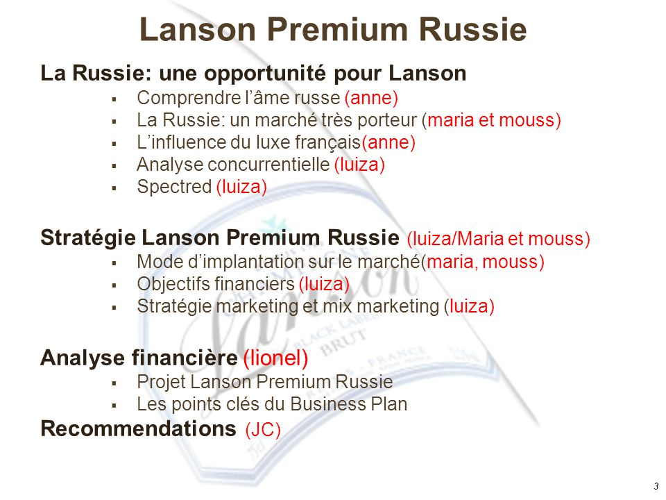 Lanson Premium Russie La Russie: une opportunité pour Lanson