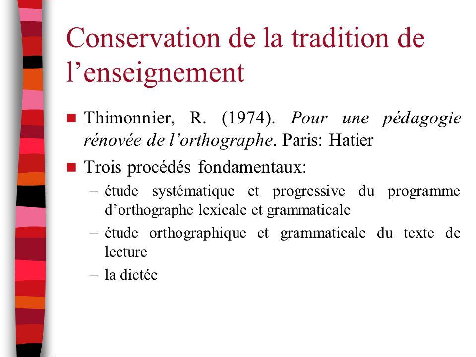 Conservation de la tradition de l'enseignement