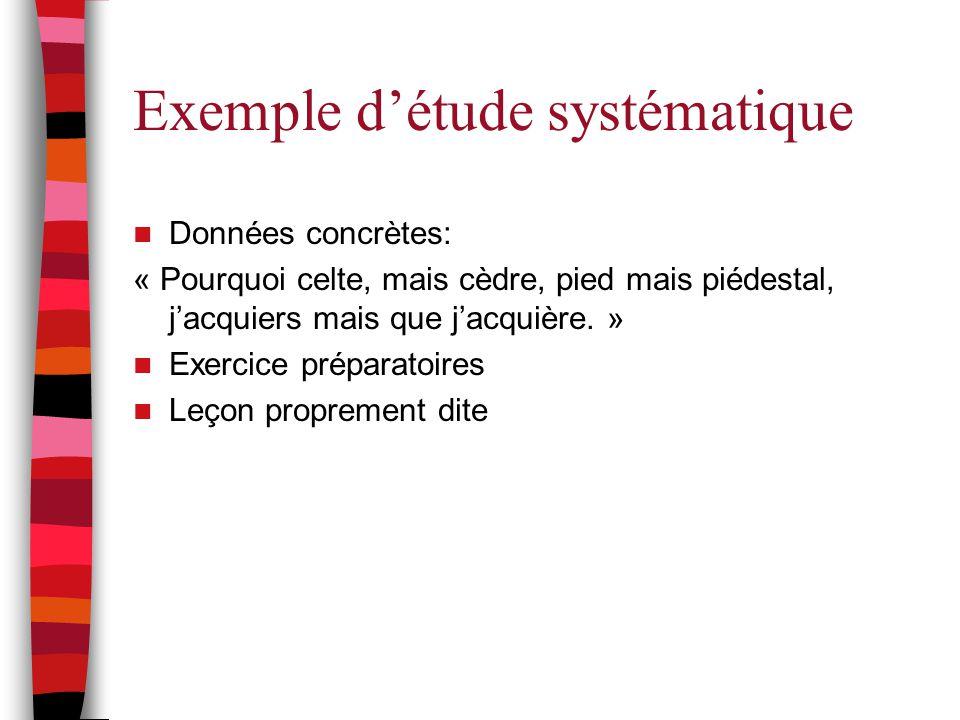 Exemple d'étude systématique