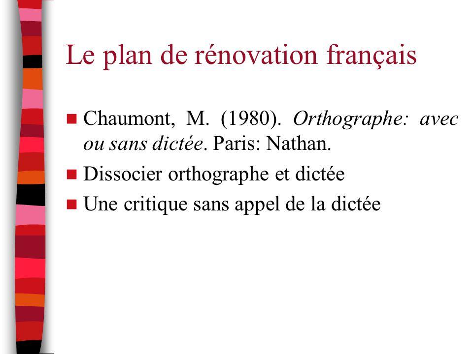 Le plan de rénovation français