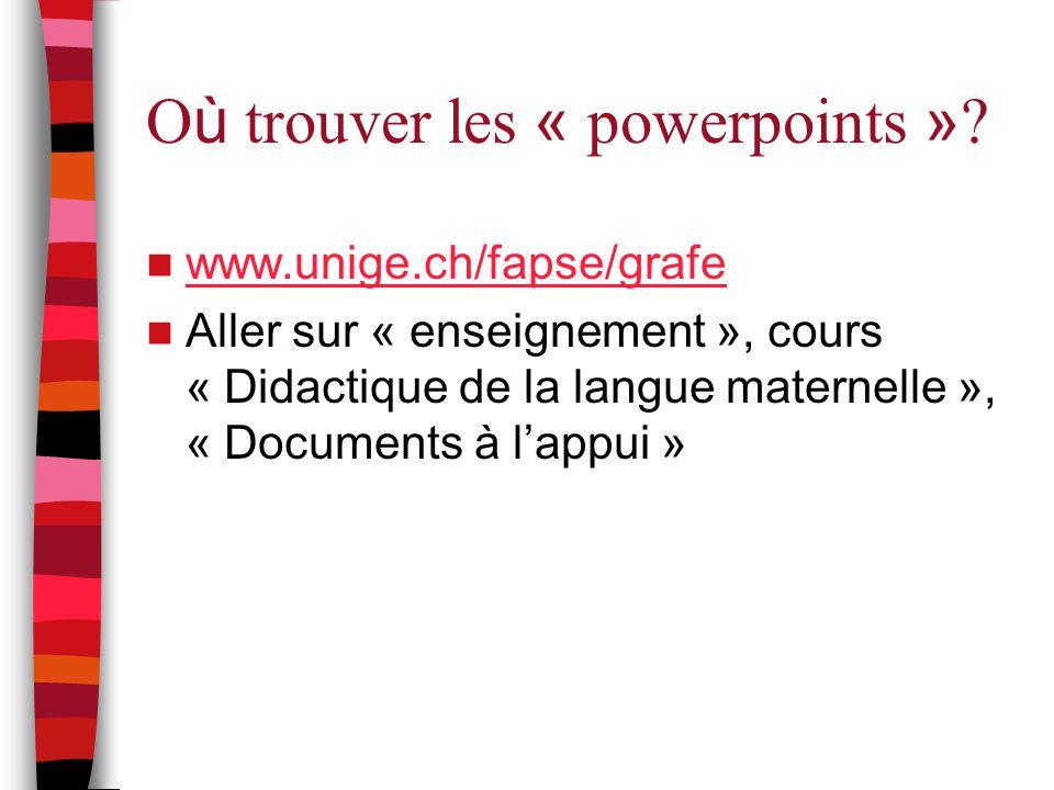 Où trouver les « powerpoints »