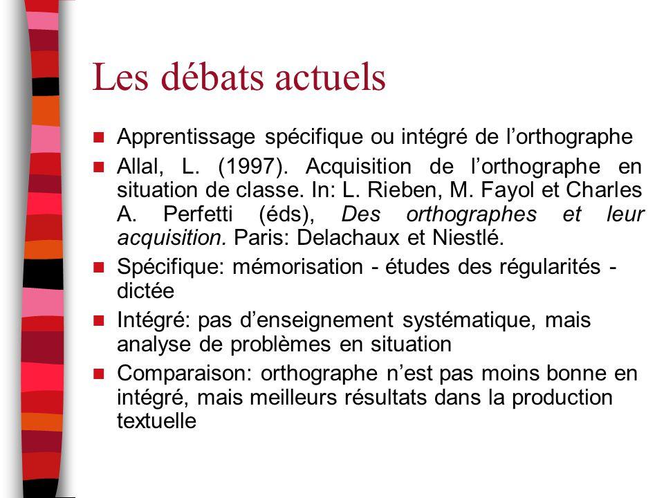 Les débats actuels Apprentissage spécifique ou intégré de l'orthographe.