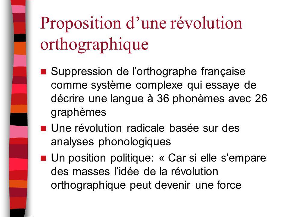 Proposition d'une révolution orthographique