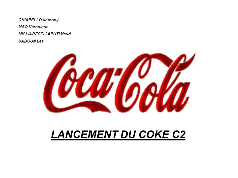 LANCEMENT DU COKE C2 CHIAPELLO Anthony MAO Véronique