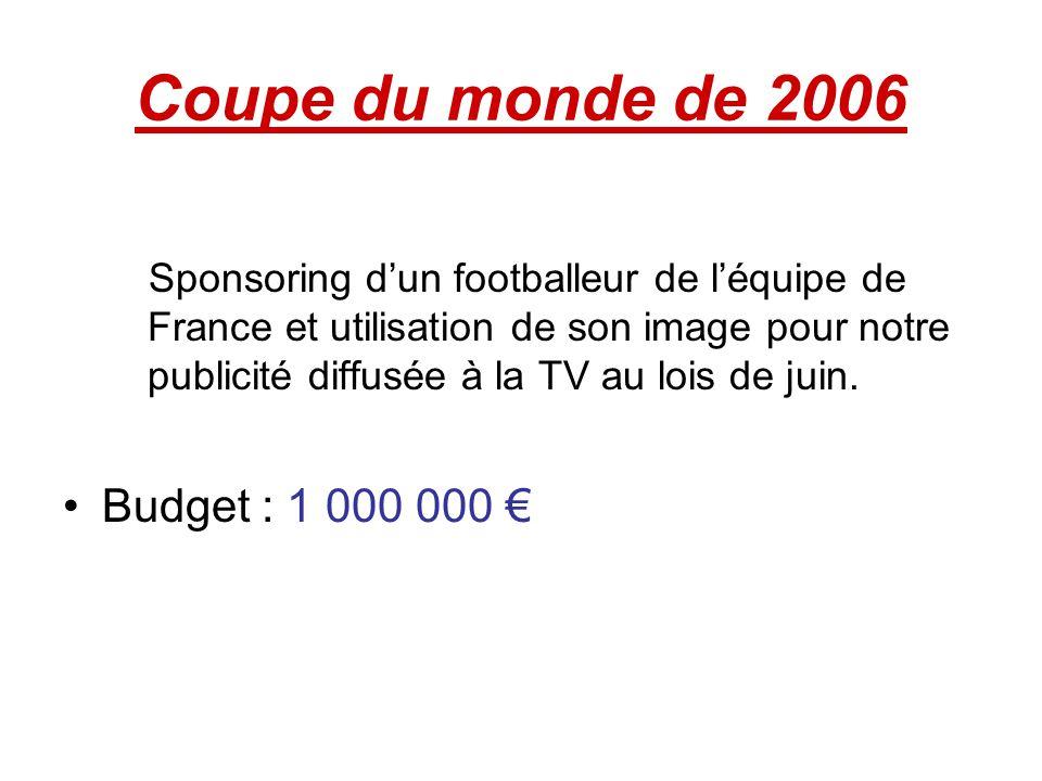 Coupe du monde de 2006 Budget : 1 000 000 €