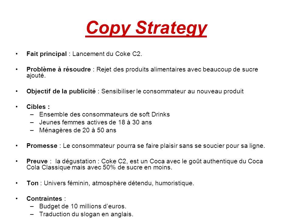 Copy Strategy Fait principal : Lancement du Coke C2.