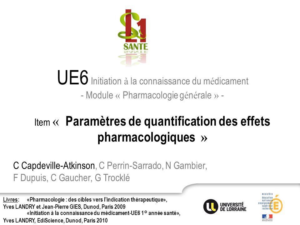 UE6 Initiation à la connaissance du médicament - Module « Pharmacologie générale » - Item « Paramètres de quantification des effets pharmacologiques »