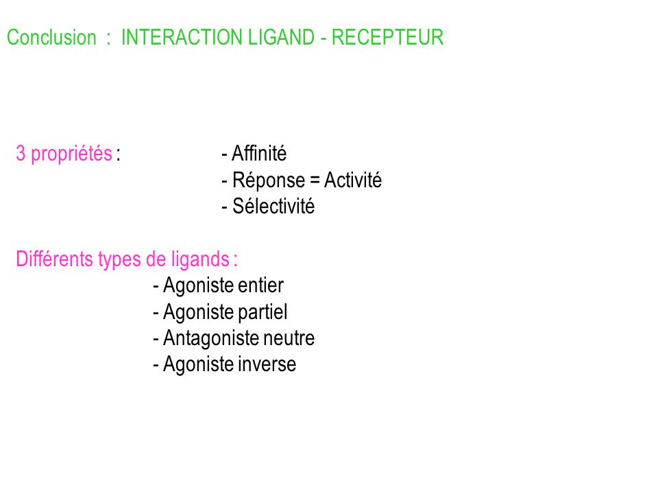 Conclusion : INTERACTION LIGAND - RECEPTEUR