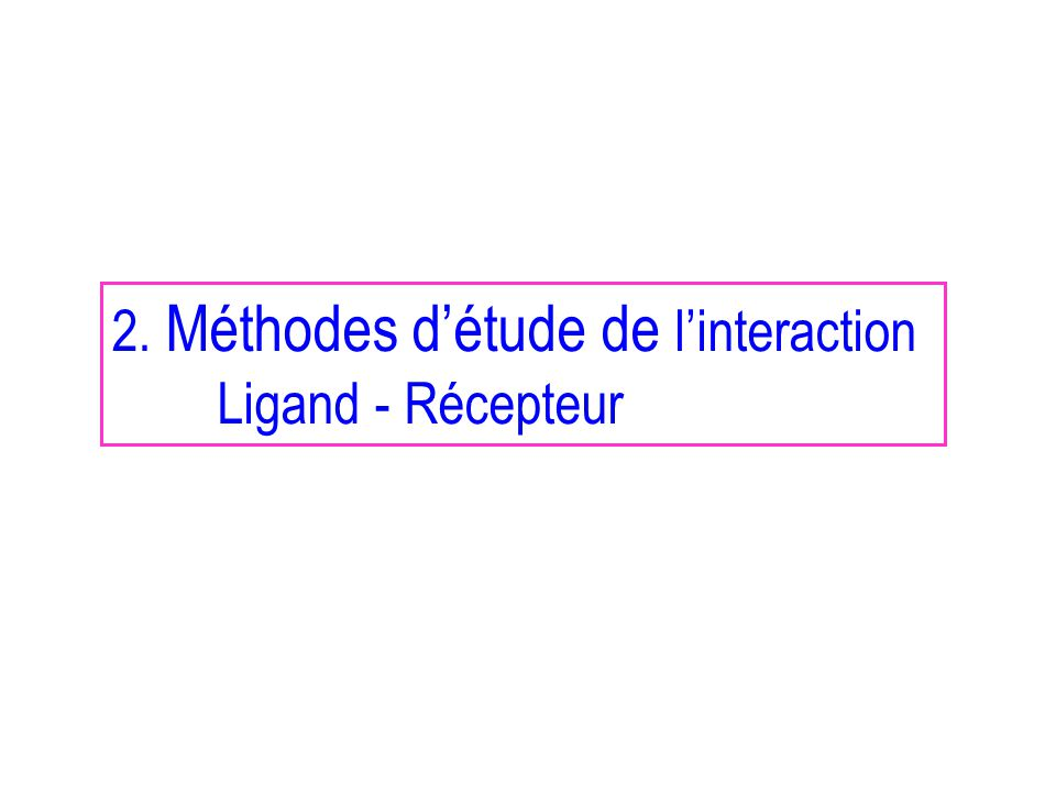 2. Méthodes d'étude de l'interaction
