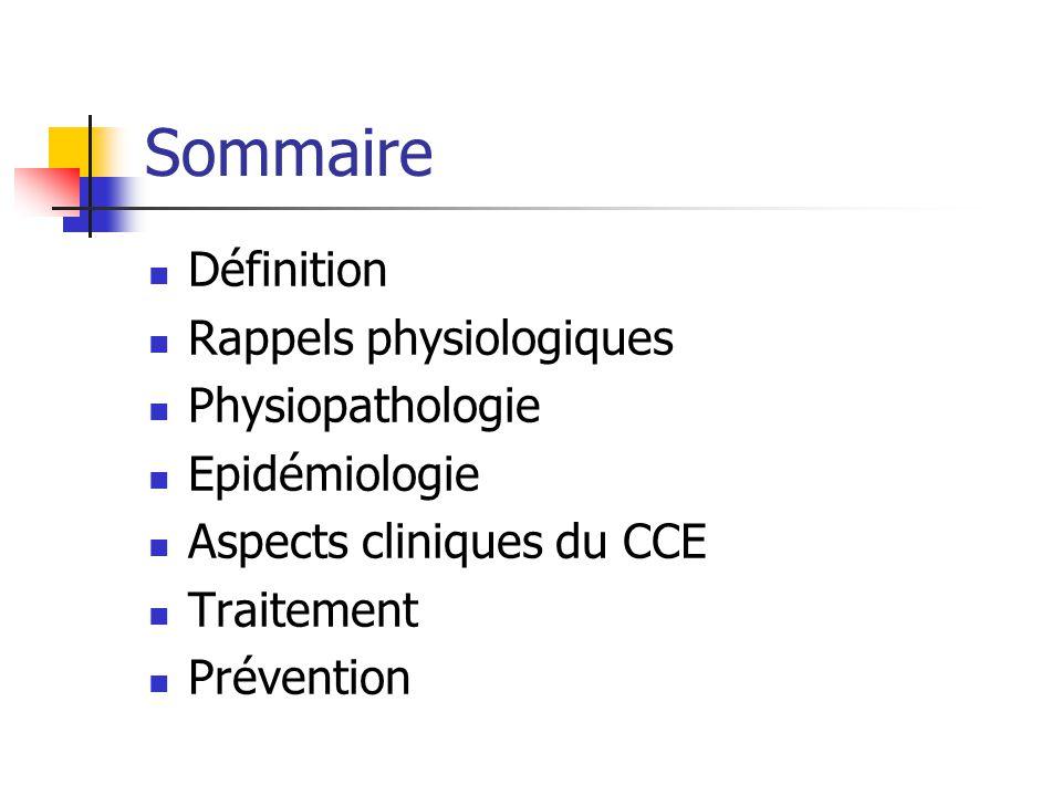 Sommaire Définition Rappels physiologiques Physiopathologie