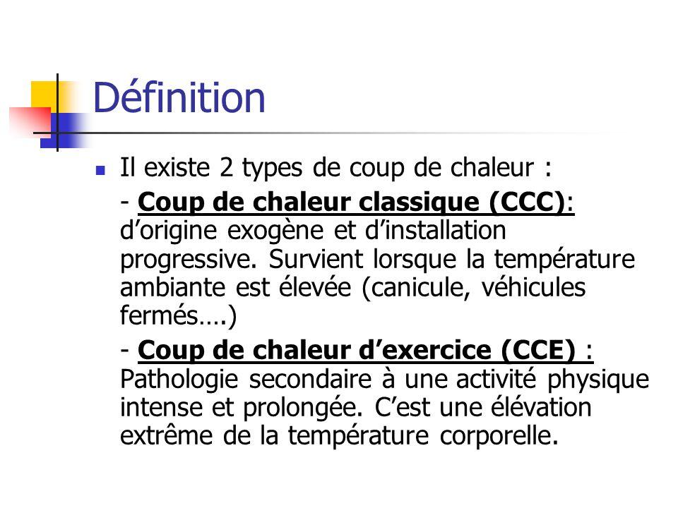 Définition Il existe 2 types de coup de chaleur :