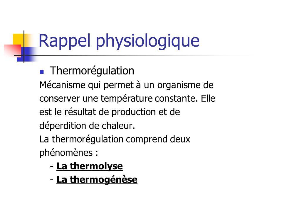 Rappel physiologique Thermorégulation