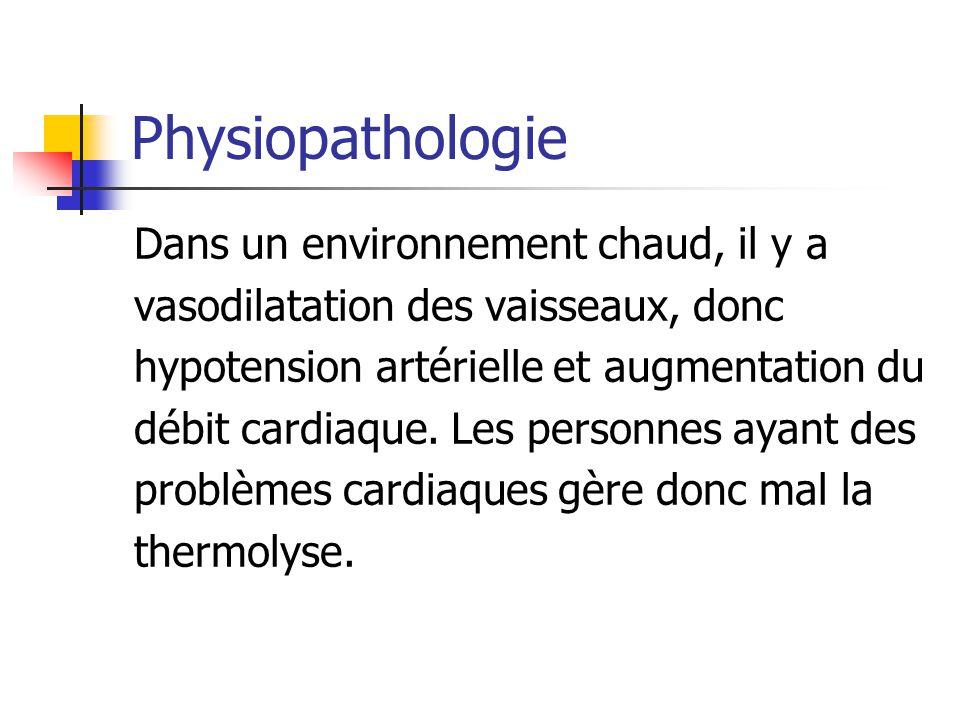 Physiopathologie Dans un environnement chaud, il y a