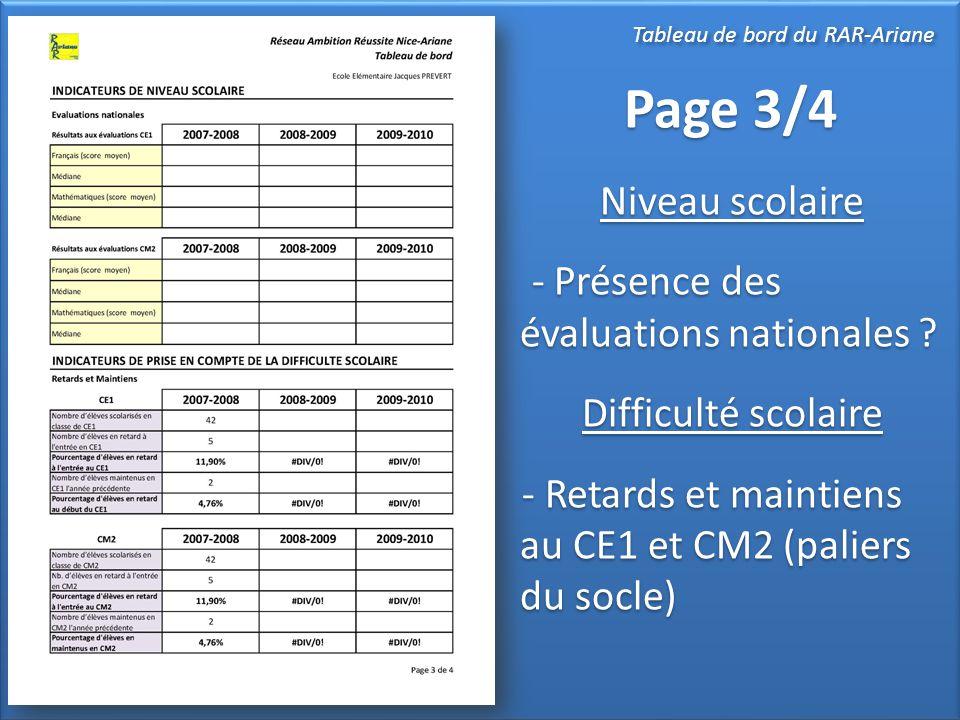 Page 3/4 Niveau scolaire - Présence des évaluations nationales