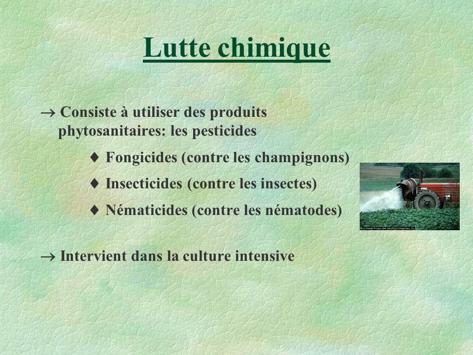 Lutte chimique  Consiste à utiliser des produits phytosanitaires: les pesticides.  Fongicides (contre les champignons)