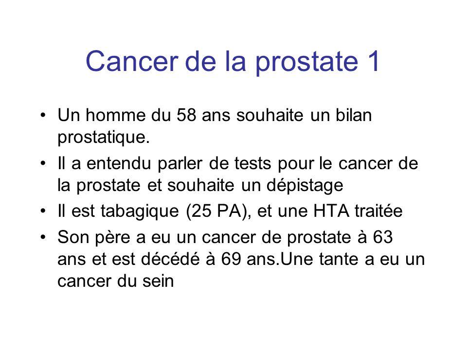 Cancer de la prostate 1 Un homme du 58 ans souhaite un bilan prostatique.