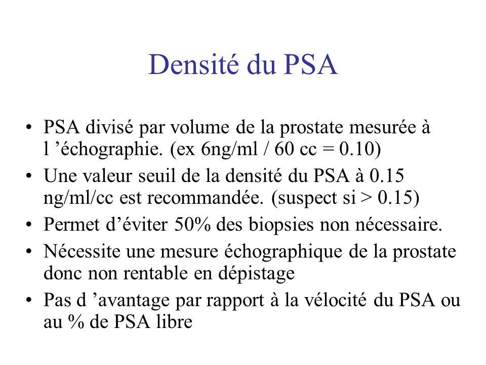 Densité du PSA PSA divisé par volume de la prostate mesurée à l 'échographie. (ex 6ng/ml / 60 cc = 0.10)