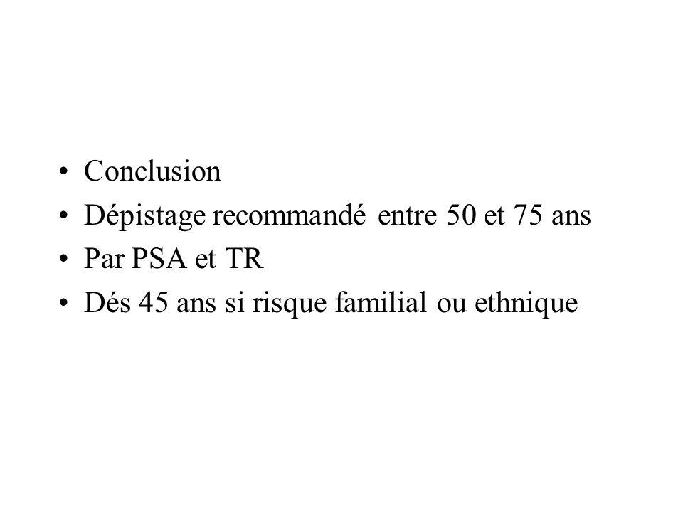 Conclusion Dépistage recommandé entre 50 et 75 ans.