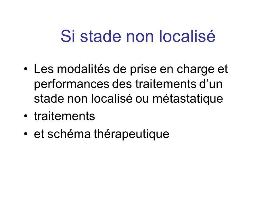Si stade non localisé Les modalités de prise en charge et performances des traitements d'un stade non localisé ou métastatique.