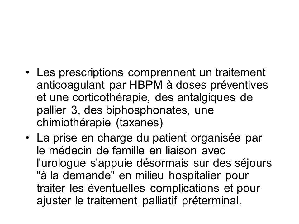 Les prescriptions comprennent un traitement anticoagulant par HBPM à doses préventives et une corticothérapie, des antalgiques de pallier 3, des biphosphonates, une chimiothérapie (taxanes)