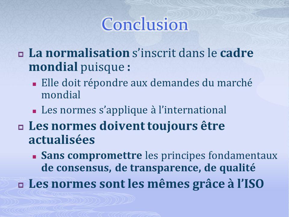 Conclusion La normalisation s'inscrit dans le cadre mondial puisque :