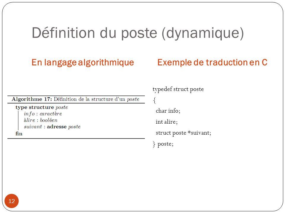 Définition du poste (dynamique)