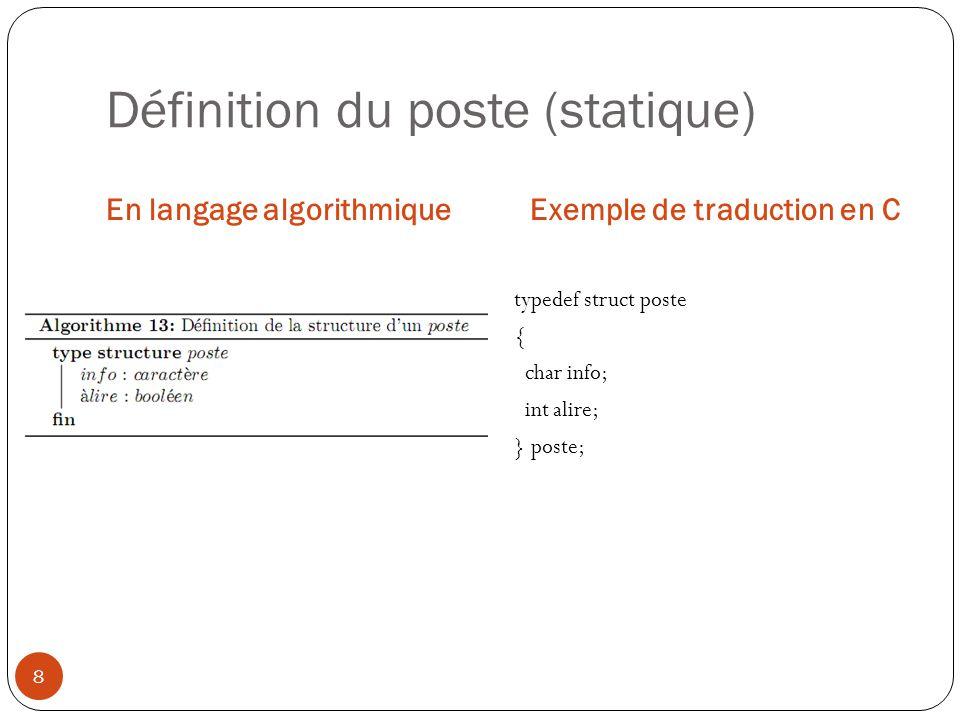 Définition du poste (statique)