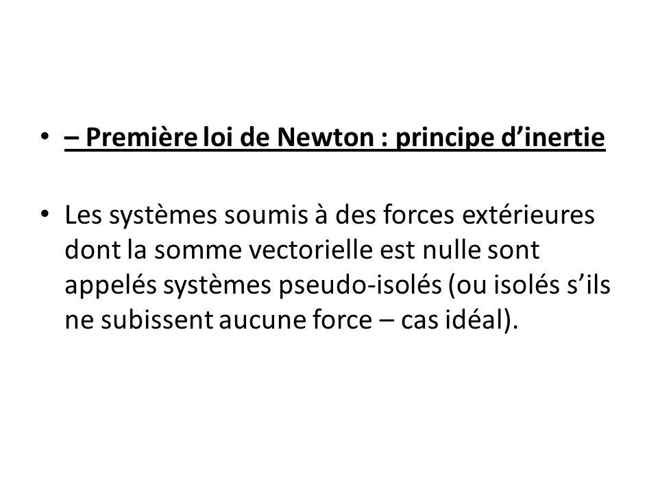 – Première loi de Newton : principe d'inertie