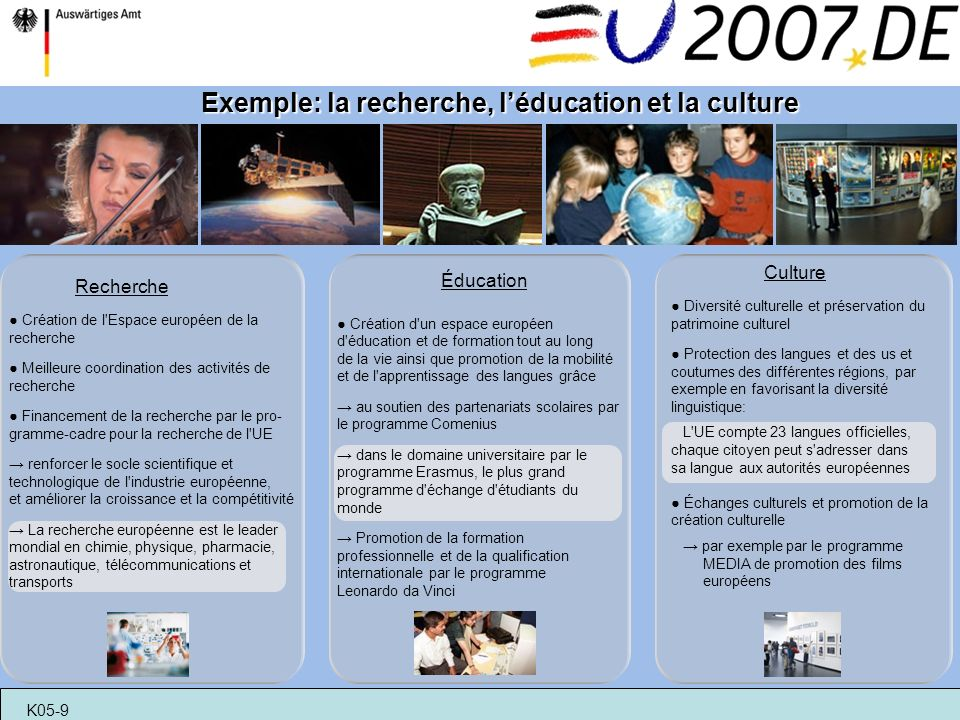 Exemple: la recherche, l'éducation et la culture