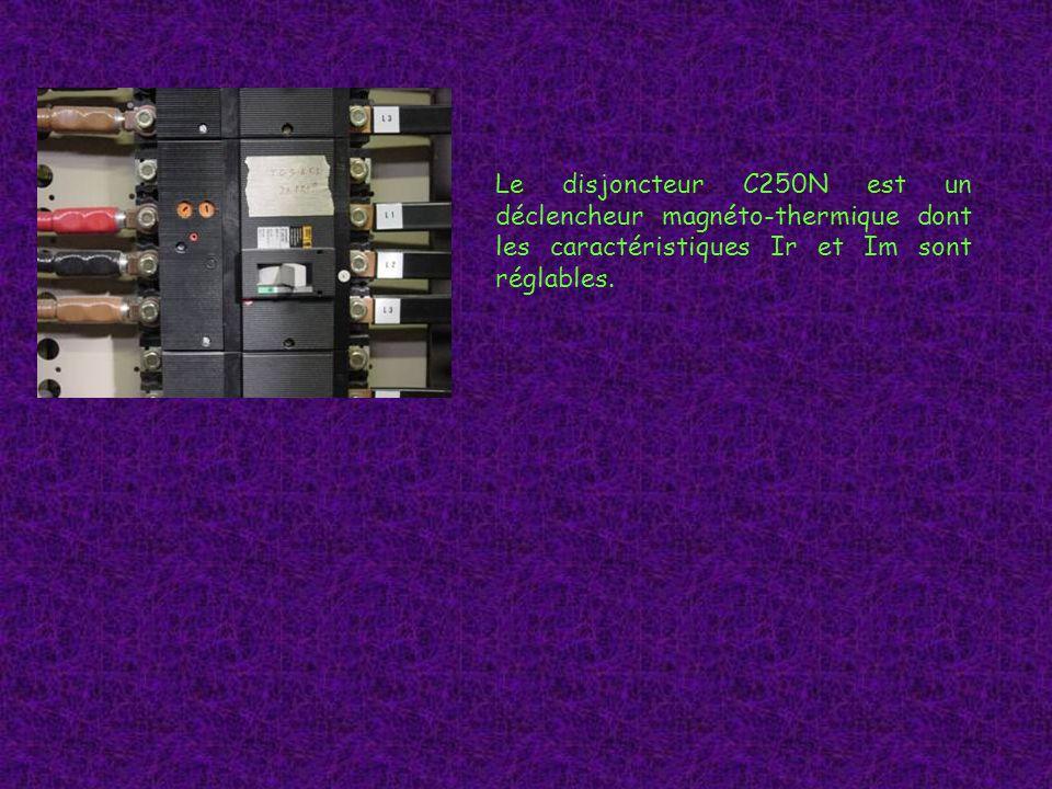 Le disjoncteur C250N est un déclencheur magnéto-thermique dont les caractéristiques Ir et Im sont réglables.