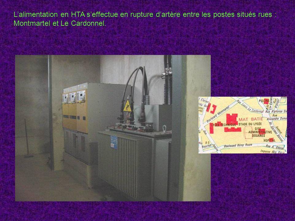 L'alimentation en HTA s'effectue en rupture d'artère entre les postes situés rues :