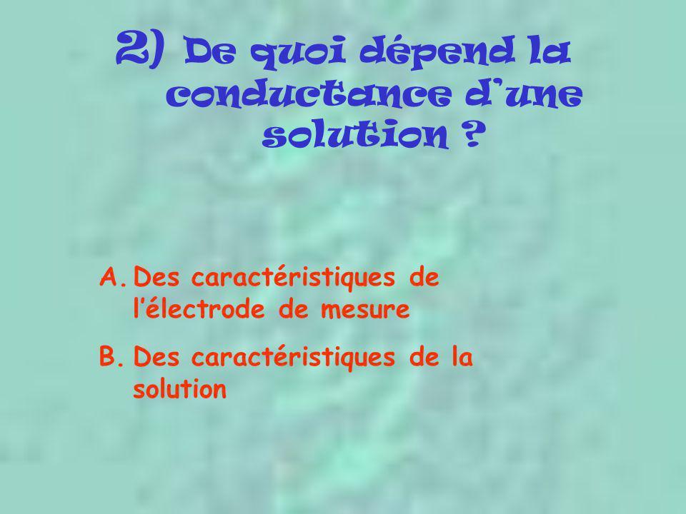 2) De quoi dépend la conductance d'une solution